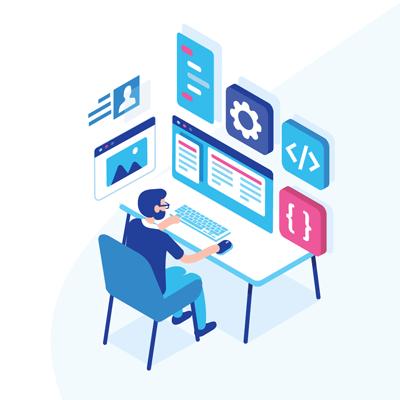 Graphic of man doing website design