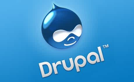 An image of the Drupal the website CMS logo on a blue background