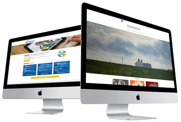 Two computers showing examples of website design